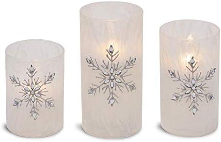 Mark Feldstein Associates Jeweled Snowflake Iced Glass Flameless Pillar Candles Assorted Set of 3
