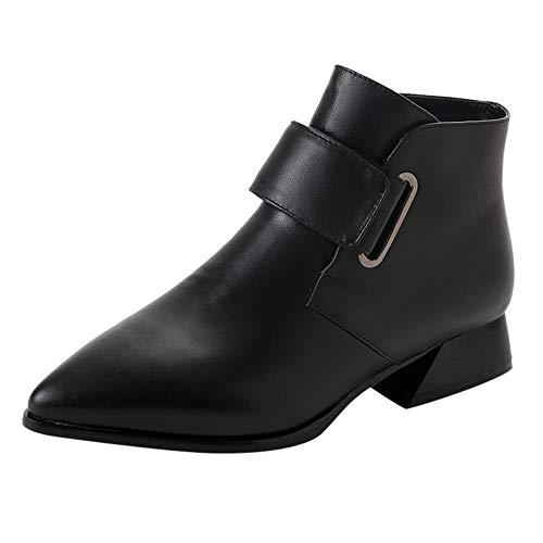 LONGDAY ⭐ Women's Round Toe Buckle Block Heel Ankle Booties Closed Pointed Toe Low Chunky Heel Ankle Strap Faux Leather Black