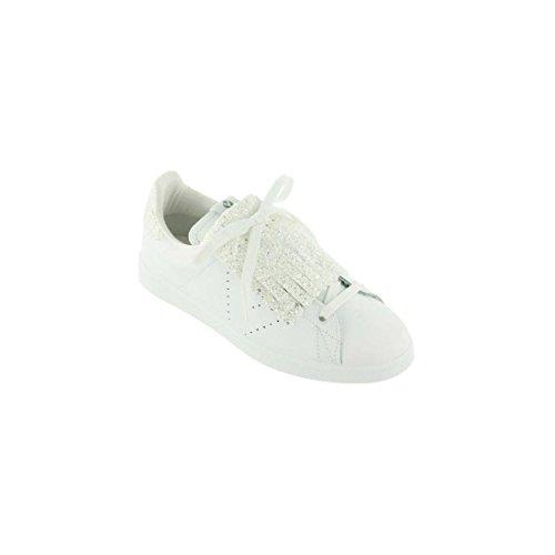 Sneakers donna Victoria, art. 1125128 Blanco, con dettagli glitterati argento (ghetta rimovibile)