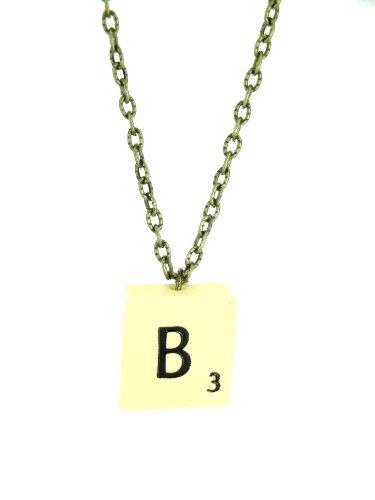 Fallen Saint Letter B Vintage Scrabble Tile Necklace Gift Boxed (Letter Necklace Scrabble)