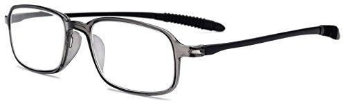 FONEX TR90 Stylish Reading Glasses Frame Old Men Eyeglasses Women Hyperopia Ultralight Gift for father +1.50 +2.00 +2.50 +3.00 LH235 (Gray Black, 3)