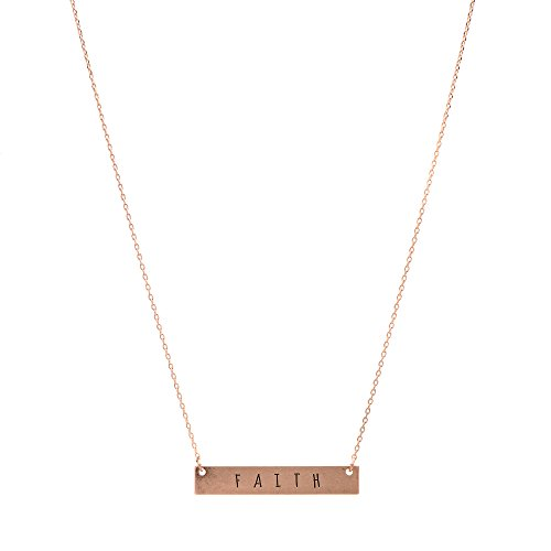 chelseachicNYC Inspirational Mantra Message Bar Necklace (Faith-Gold) -