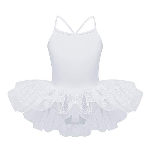 iEFiEL Girls Princess Ruffle/Cap Sleeves Ballet Dance Gymnastics Tutu Leotard Dress Ballerina Dancewear White Lace Overlay 2
