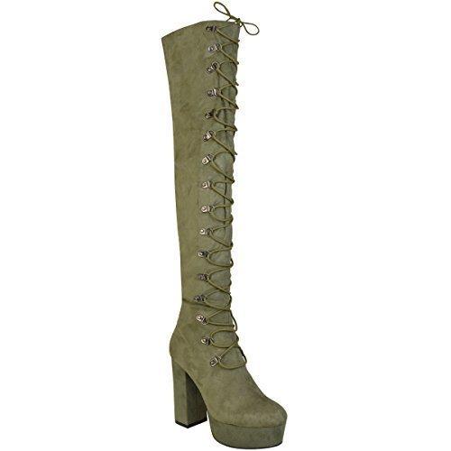 Fashion Thirsty Mujer Botas Por Encima de La Rodilla Sobre Rodilla Tacón de Aguja Zapatos con Cordones Talla VERDE CAQUI Ante Artificial