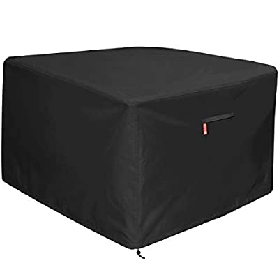 "Gas Fire Pit Cover Square - Premium Patio Outdoor Cover Heavy Duty Fabric with PVC Coating,100% Waterproof,Fits for 33 inch,34 inch,35 inch,36 inch Fire Pit / Table Cover (36""L x 36""W x 24"",Black)"