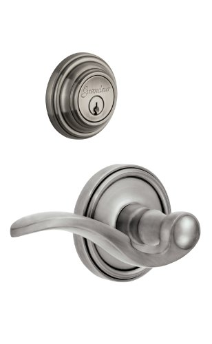(Grandeur Georgetown Rosette with Left Handed Bellagio Lever and Matching Deadbolt Complete Single Cylinder Combo Pack Set, Antique Pewter)