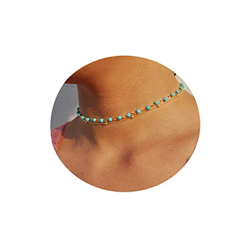 Fettero Dainty Layered Turquoise Beaded Gold Choker Necklace,Handmade Natural Green Turquoise Stone Beads Necklaces for Women(NK5-7)