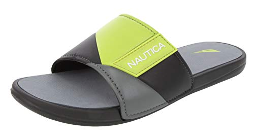 Nautica Men's Athletic Slide, Strap Comfort Sandal-Gantry-Black/Lime-10