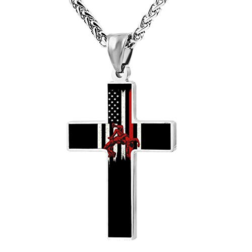 Fgfio Wrestling American Flag Fashion Printed Cross Necklace Cross Prayer Christ Necklace Pendant 24 Inch Crucifix Pray Ornaments Unisex