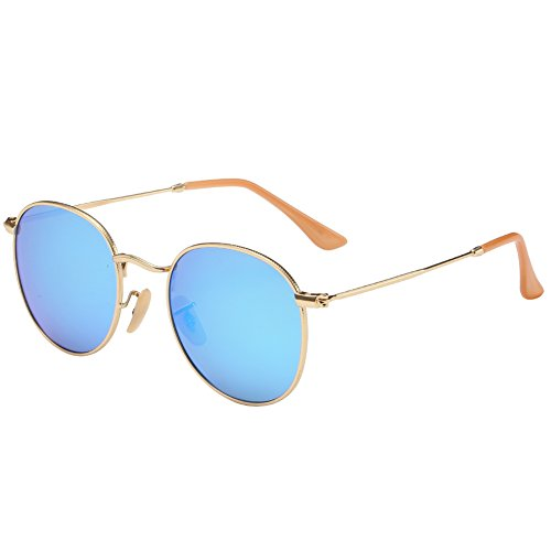 Joopin-Polarized Sunglasses Men Coating Lens Sun Glasses Women Vintage Round Sunglass Man (Blue) (Round Sunglasses For Men)