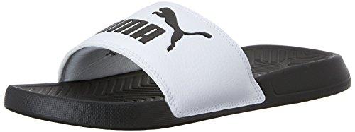 PUMA Men's Popcat Slide Sandal, Black/White, 11 D US