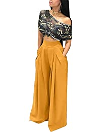Women's Stretchy Solid Color High Waisted Wide Leg...