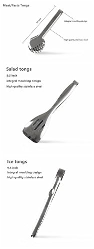 Joy Looker JT01 Premium 100% Stainless Steel Food Tongs Set of 3 Flatware Buffet Tongs 10 Inch Meat Tongs 9.5 Inch Salad Tongs 9.5 Inch Ice Tongs 3 Joy Looker food tongs set is made of 100% premium stainless steel,and its thickness is more than other food tongs you'd ever saw. Because it does not need to rely on the spring to work so it will never damaged,it is safe and very convinent to use and cleaning. Tooth shaped tong 10 inches, especially used to tong meat or noodles,salad tong 9.5 inches,Ice tong 9.5 inches.