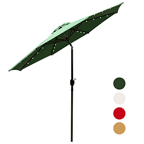 Outdoor Basic 9 Ft Patio Umbrella Solar Powered LED Lighted Fade-Resistant Table Umbrella with Wind Vent Green