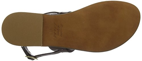 CAFèNOIR Women's Kge134 T-Bar Sandals, 2401 T. Moro, 4 Brown (T. Moro 2401)