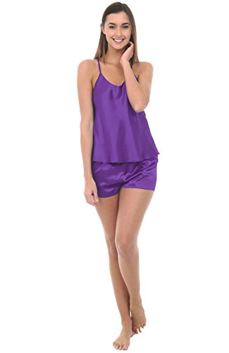 Alexander Del Rossa Womens Satin Pajamas, Cross Back Cami top and Shorts, XL Regency (A0779REGXL)