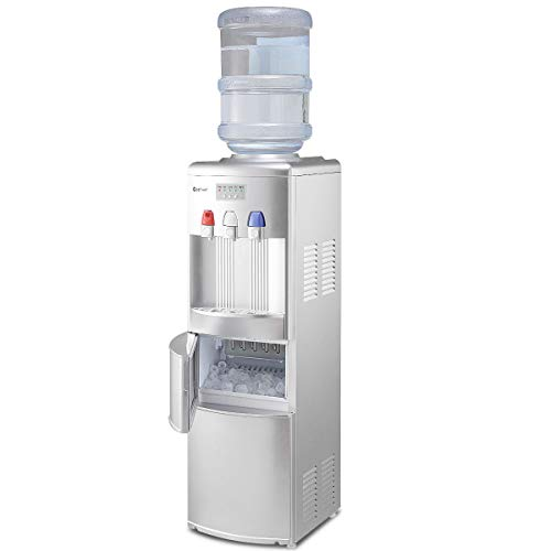 Freestanding Water - Costway 2-in-1 Water Cooler Dispenser with Built-in Ice Maker Freestanding Hot Cold Top Loading Water Dispenser 27LB/24H Ice Machine with Child Safety Lock, Silver