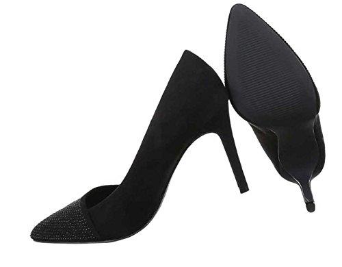 Damen Pumps Schuhe High Heels Stiletto Abendschuhe Club Party Schwarz Rot 35 36 37 38 39 40 Schwarz
