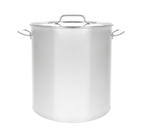 CONCORD Polished Stainless Steel Stock Pot Brewing Beer Kettle Mash Tun w/Flat Lid (40 QT) (Brewing Kettle Beer)