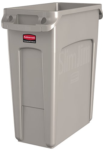 Rubbermaid Commercial Vented Slim Jim Trash Can Waste Receptacle, 16 Gallon, Beige, Plastic, 1971259