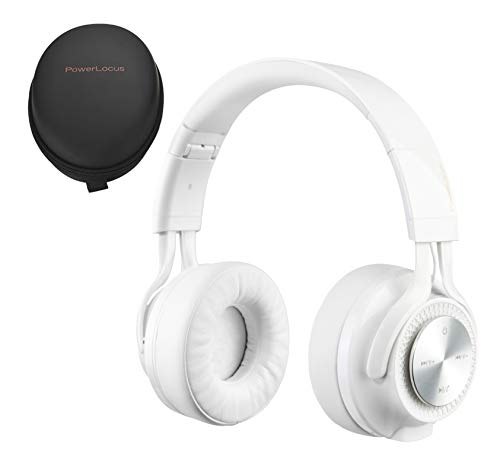 PowerLocus P3 Wireless Bluetooth Headphones Over-Ear, Foldable Stereo Wireless/Wired Headphone Over Ear with Mic Deep Bass Headset for iOS/Android/Laptop/PC/TV – White