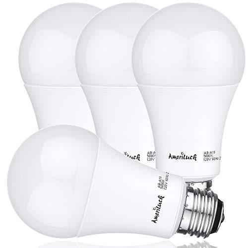 AmeriLuck 3-Way LED A19 Light Bulb 50-75-100W Equivalent 4000K Cool White (4 Pack) 2 Lights 100 Watt Bulbs