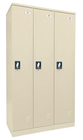 """Sandusky Lee KDCL7236/3-07 Putty Powder Coat Paint Steel SnapIt Full Length Locker, 72"""" Height x 36"""" Width x 18"""" Depth, 3 Lockers Wide"""