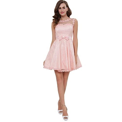 bf624d0cf1a CLOCOLOR Women s Sheer Boat Neck A Line Lace Homecoming Dress Short Party Gown  chic