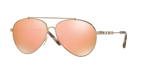 Burberry Women's 0BE3092Q Gold/Brown Mirror Rose Gold One - Burberry Sunglasses
