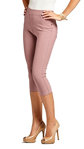 [Women's Jeggings - Premium Denim Jean Leggings - Skinny Jeans - Regular and Plus Sizes - 10 Colors by Conceited (X-Large / 2XL, Capri Mauve)] (Front Skinny Jeans)