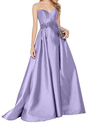 Steine Charmant Abendkleider Traegerlos Herzausschnitt Lang Lilac Satin mit Abschlussballkleider Damen Elegant Brautmutterkleider Rt0twr