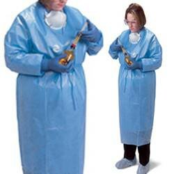 Covidien DP5004G ChemoPlus Maximum Protection Chemo Gown, Open Back, XX-Large, Light Blue (Pack of 24)