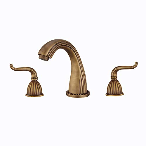 Widespread Solid Brass Two Handles Three Holes Rustic Nickel Lavatory Bathtub Faucets Antique Copper Commercial Bathroom Sink Faucet ()