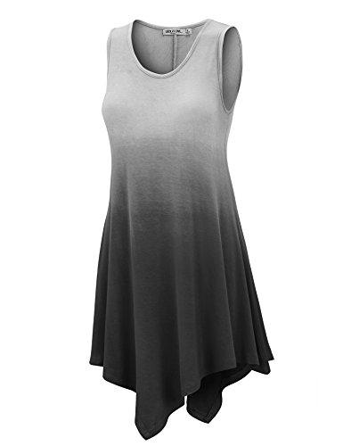 (WT1053 Womens Round Neck Ombre Sleeveless Tunic Tank Top XXXL BLACK)