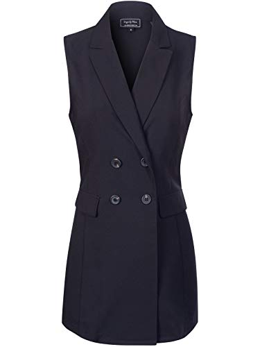 Design by Olivia Women's Long Sleeveless Solid Open-Front Casual Long Office Jacket Black M