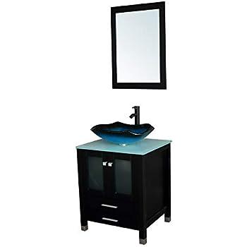 Bathjoy 24 inches bathroom vanity set wood cabinet top - Bathroom vanity and mirror combo ...