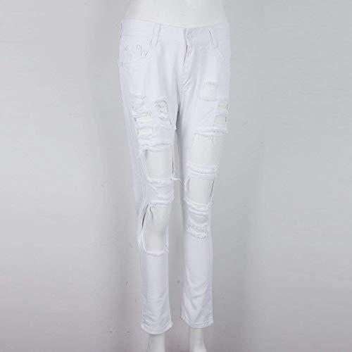 Bolsillos Casuales Botón Sólido Moda Blanco Pantalones Las Con Skinny Denim Acogedor Vaqueros Mujeres Ripped Color De fOqBFvw7