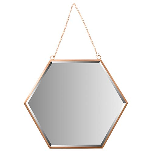 (Koyal Wholesale Wall Mirror with Detachable Hanging Chain, Table Mirror for Centerpiece, Round Vanity Mirror (Rose Gold, 12-Inch Hexagon))
