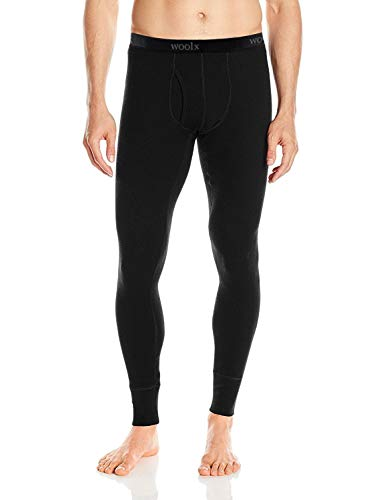Woolx Mens Arctic Heavyweight Merino Wool Base Layer Bottoms For Extreme Warmth, Black, Large
