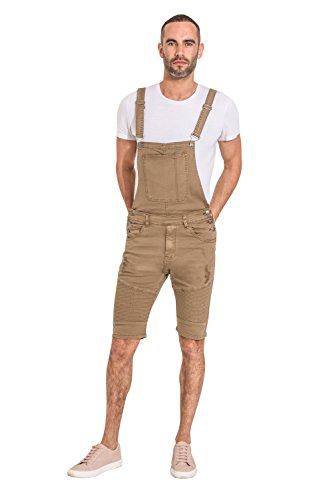 Yes Design Mens Dungaree Shorts - Detachable Bib - Light Brown Bib-Overalls
