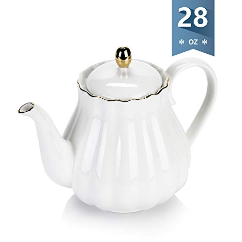 (Amazingware Royal Teapot, Porcelain Tea Pot with Stainless Steel Infuser, with a filter for loose tea, Pumpkin Fluted Shape- 28oz, white)