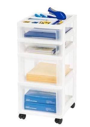 Honey Can Do Rolling Storage Cart with Fabric Drawer, White Bundle with IRIS 4-Drawer Storage Cart with Organizer Top, White by Honey Can Do + IRIS USA (Image #5)