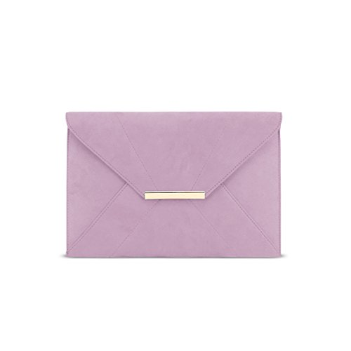 (ZKHOECR Clutch Purses for Women Evening Ladies Envelope Clutch Wristlet Bag with Removable Chain Strap Wedding Prom Party Magnet Hook Faux Suede Handbag Purse with Pocket Light Purple)