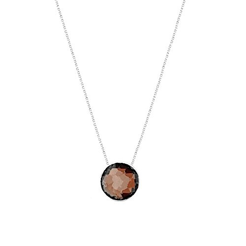 14k White Gold Handmade Necklace With 6mm Round Shape Checkerboard Garnet Solitaire Round Shape Checkerboard
