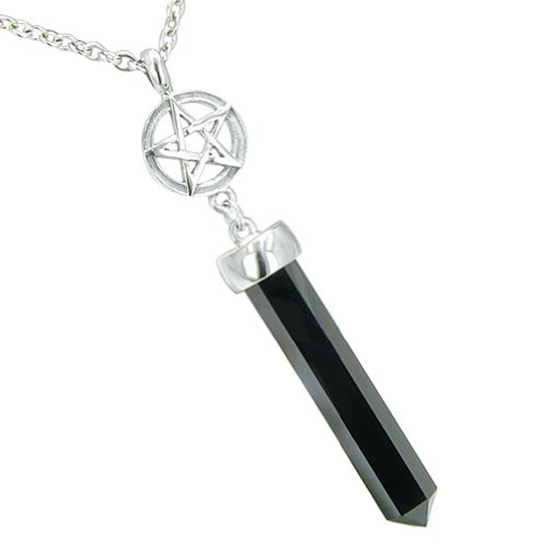 Star Pentacle Amulet Crystal Point Charm Simulated Onyx Pendant 22 Inch Necklace (Pentacle Crystal)