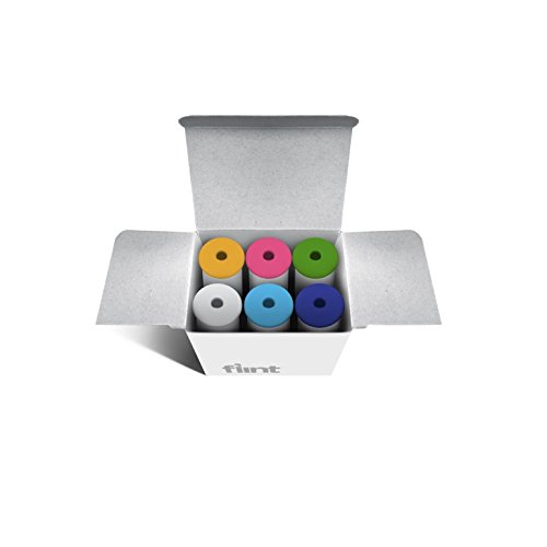 Flint Refill for Retractable Lint Roller with 30 Multi-Use Adhesive Sheets and Interchangeable Caps, Solid Mix Colors, 6 Refills