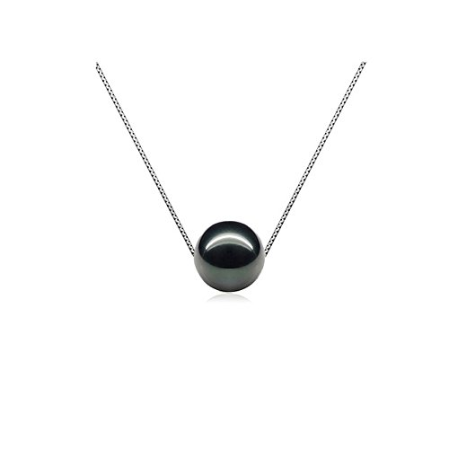 - Blue Pearls - Black Freshwater Pearl Necklace and Silver Mounting - BPS 0230 Y Noir- Blue Pearls - BPS 0230 Y Noir