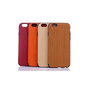 DD PU Leather Double Color Wood Grain Shell for iPhone 6 (Assorted Colors) , Red