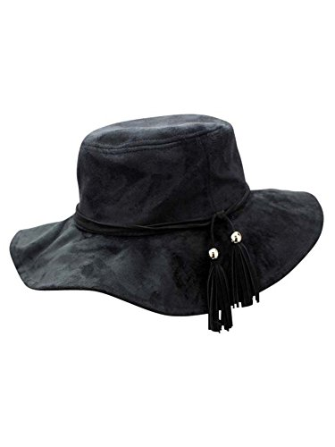 (Luxury Divas Black Faux Suede Bucket Hat with Tassel Hat Band)