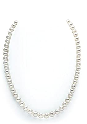 White Freshwater Round Cultured Pearl Necklace - AAA Quality